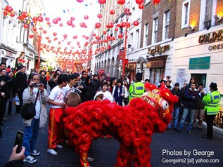lion dance in chinatown